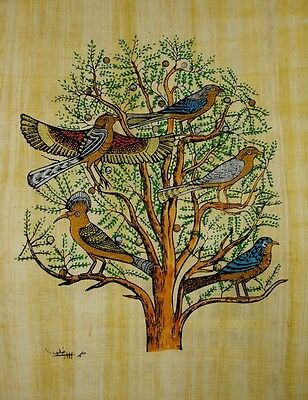 "Original Hand Painted Papyrus 8""x12"" (20x30 CM) Tree of Life Egyptian pharaoh"