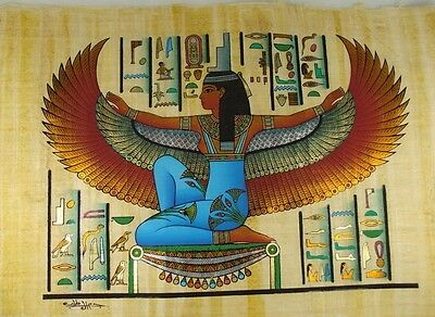 "PHARAOH ISIS WINGS & HIEROGLYPH ORIGINAL HAND PAINTED PAPYRUS 16""x24""(40x60 CM)"