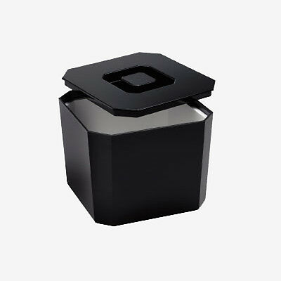 Square Black Ice Bucket with Draining Liner and Lid - Pub / Bar