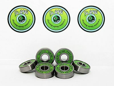 Skateboard Bearings Pack of 8 GREEN SLIME ABEC 11 608RS Bearings