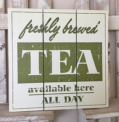Shabby Wooden Wall Plaque/Chic Vintage Hanging Kitchen Tea Sign