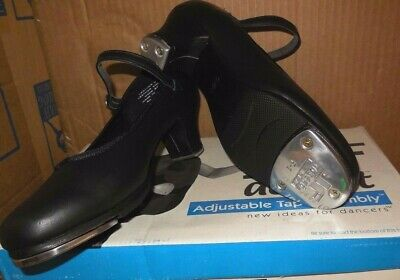 "NEW/BOX Character Tap Shoes Black Leather 1 1/2"" heel ch/ladies #3528 Medium wid"