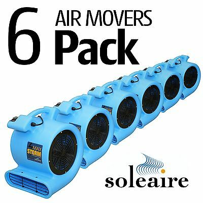 6 Pack Soleaire Max Storm Air Mover Carpet Dryer Floor Blower Fan Water Damage