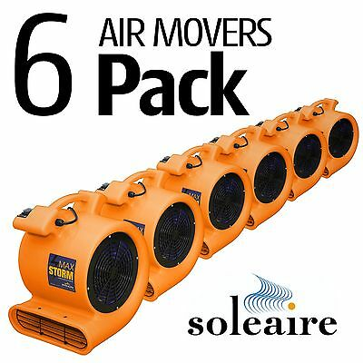 Air Mover Blower 115V Soleaire® Max Storm 2550 CFM 6 Pack Orange