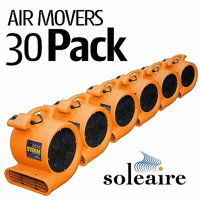 30 Pack Soleaire Max Storm 1/2 HP Air Mover Carpet Dryer Floor Fan Blower Home