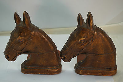 Vintage Bookends Horse Heads Pair Syroco Wood Book Ends Equestrian Set