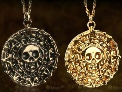 Vintage Pirates of the Caribbean Aztec Coin Medallion Skull Head Necklace Hot