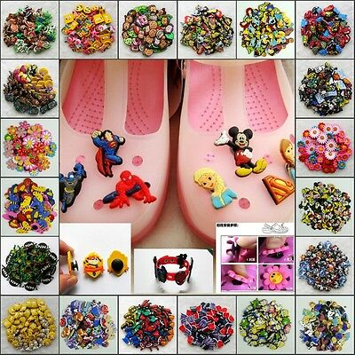 NEW 100pcs Shoe Charms fit for Croc & Jibbitz Silicone Wristband Bracelet Gifts