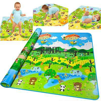 2x1.8M Large Two Sides Extra Thick Baby Play Mat Activity Picnic Crawl Mat KECP
