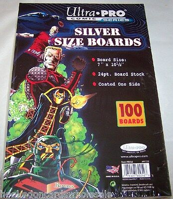 "1 Pack of 100 Ultra Pro 7"" Silver Comic Book Backer Backing Boards"