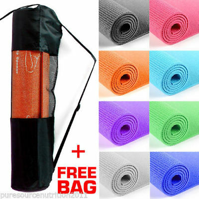 Yoga Mat PVC Thick Exercise Fitness Physio Pilates Gym Mats Non Slip Soft TNP Ac