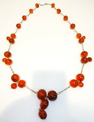 Vintage Antique Baltic Egg Yolk Amber Round Beads Necklace 40gr! Genuine! 26