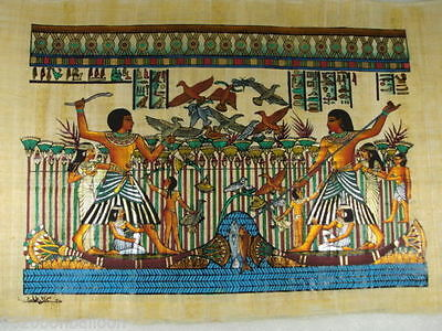 "PHARAOH FISHING & HUNTING ORIGINAL HAND PAINTED PAPYRUS 16""x24"" (40x60 CM)"