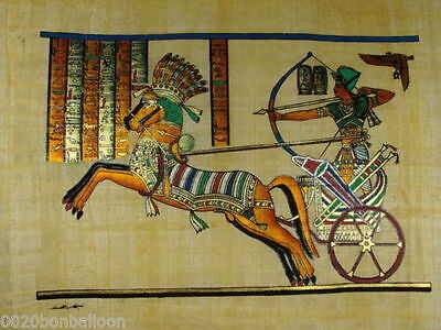 "PHARAOH KING RAMSES IN BATTLE ORIGINAL HAND PAINTED PAPYRUS 12""x16"" (30x40 CM)"