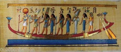 "9 PHARAOH GODS KINGS ON BOAT ORIGINAL HAND PAINTED PAPYRUS 32""x12""(80x30 CM)"
