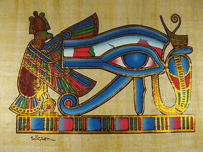 "PHARAOH HORUS EYE ORIGINAL HAND PAINTED PAPYRUS 16""x24"" (40x60 CM)"
