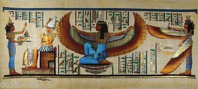 "PHARAOH ISIS WINGED WITH MAAT ORIGINAL HAND PAINTED PAPYRUS 32""x12""(80x30 CM)"