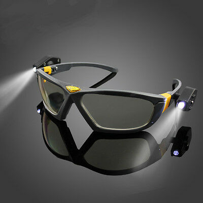 Riding Cycling Safety Glasses Clear Anti-fog Eye Protective Goggles with Lights