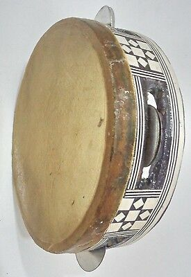 Handmade Wooden Inliad Mother Of Pearl Tambourine Rik Deff + Brass Cymbals 6.5""