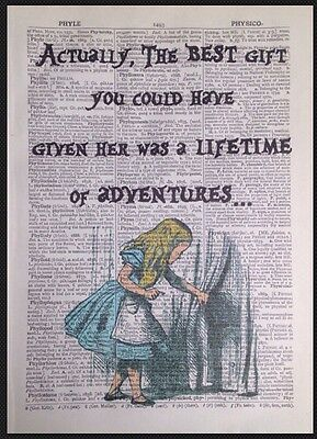 Alice In Wonderland Adventures Quote Vintage Dictionary Print Wall Art Picture