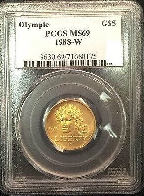 1988 - W USA Olympic $5 Gold - PCGS MS69