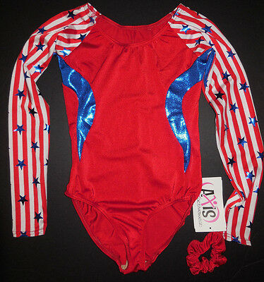 NWT Axis Gymnastic Dance Long Sleeve Leotard Patriotic Red White Blue Adlt/Child