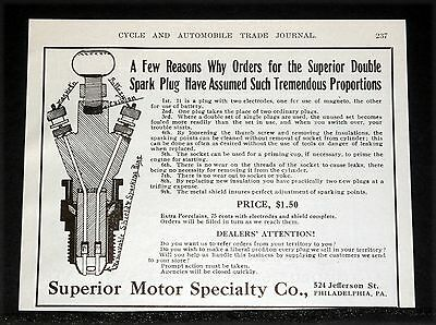 1910 Old Magazine Print Ad, Superior Double Spark Plug, With Two Electrodes!