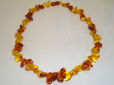 Beautiful Natural Polished Old 100% Baltic Amber Necklace 17gr, Genuine, 49