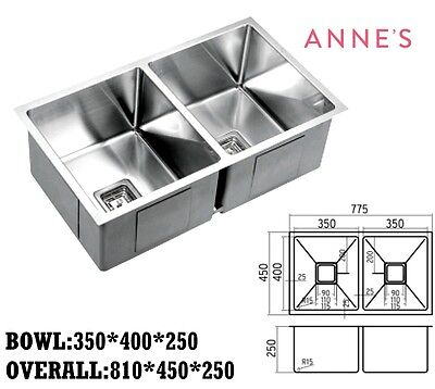 400mm x 350mm Stainless Steel Home Commercial Kitchen Under Mount Double Sink