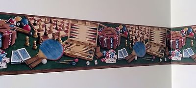 Poker Cards Pool Chess Backgammon Man Cave Game Room Den Wallpaper Border SALE!