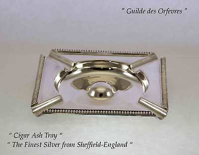 Quality Silver Cigar Ash Trays, Square with Gardroon Mount