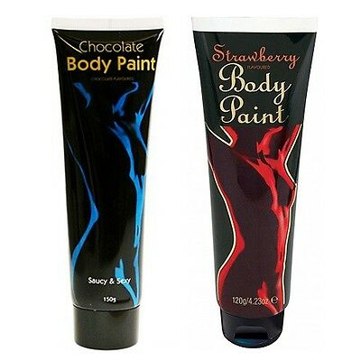 CHOCOLATE BODY PAINT BIG TUBE or Strawberry Sex Aid Romantic Gift Edible Adult