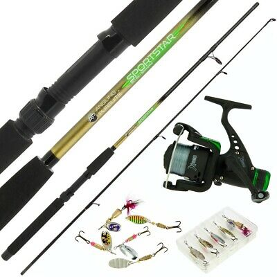Spinning Fishing Rod And Reel Set Soft Bait Spinners Lures Sea Pike Bass