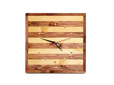 Handmade Wooden clock with a silent quartz mechanism