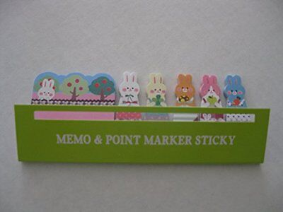 Cute Bunny Rabbits Sticker Post-it Bookmark Marker Memo Index Tab Sticky Note