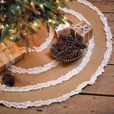 """48"""" Burlap Natural & Creme Voile Ruffled Christmas Tree Skirt by VHC Brands"""