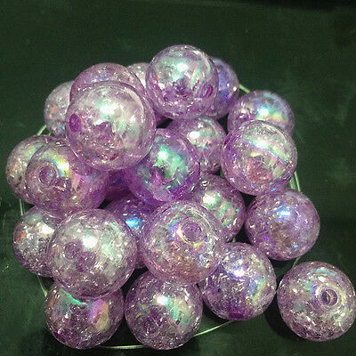 10pcs purple Crackle Glass Round 16mm Beads Jewelry Findings Craft Bead Supply /