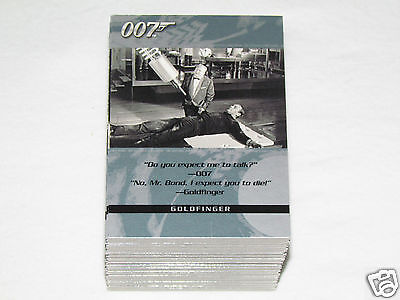 2004 JAMES BOND QUOTABLE Trading Card Set #1-100 Movie Cards 007 Rittenhouse