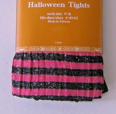 Halloween Costume Tights Stockings Black Pink Sparkle Shimmer Stripes 73-105 lb