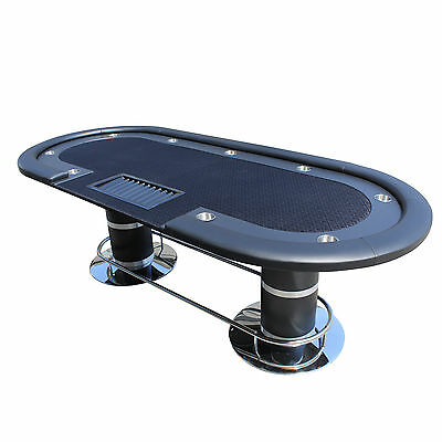 """96"""" Black Poker Table With Wooden Racetrack & Cup Holders & Plastic Chip Trays"""
