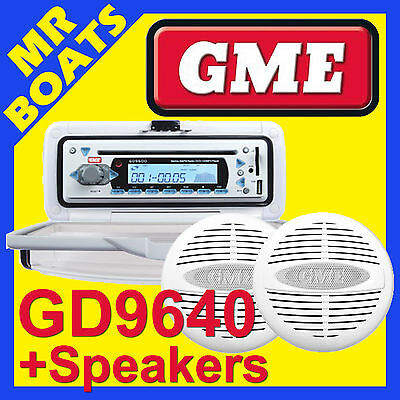 GME ✱ GD9640WEP BRACKET MOUNT MARINE STEREO + 2 SPEAKERS Combo ✱WHITE Radio Boat