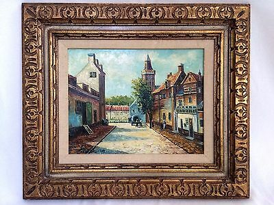 Original Antique Oil On Board Painting, City Vintage Art Stan Williams Signed