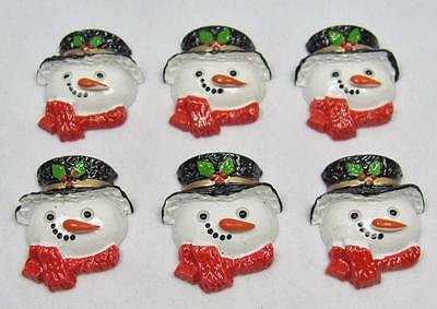 BB FLATBACKS SNOWMAN FACES LARGE pk of 6 CHRISTMAS cabochons resin flatback xmas