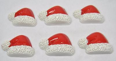 BB FLATBACKS SANTA HAT pk of 6 CHRISTMAS cabochons resin flatback xmas