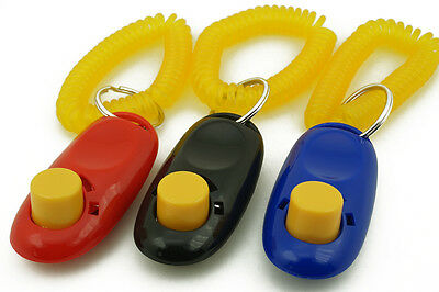3PCS Dog Pet Click Clicker Training Obedience Agility Trainer Aid Wrist Strap