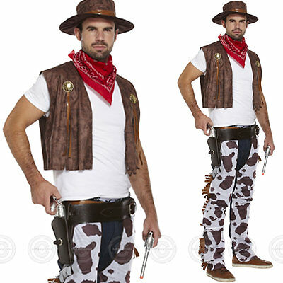 Mens Adult Cowboy Fancy Dress Outfit Costume Western Cowprint Man Wild West New