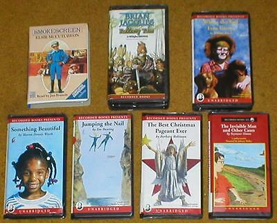 Lot of 7 Books on Tape-Fiction for Young Readers~Eve Bunting, Brian Jacques, etc