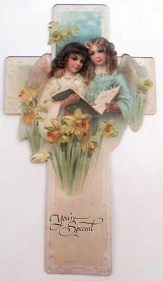 Victorian Turn Of The Century Easter Card Angels & Cross You'Re Special #Grc051