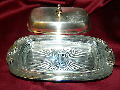 Vintage Classic ONEIDA Silver Plate BUTTER DISH Covered with glass insert NICE!