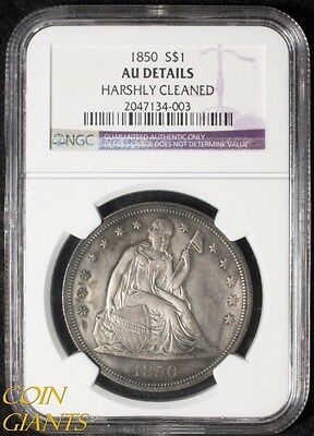 1850 Seated Liberty Silver Dollar NGC AU Details Mintage of Only 7,500! Key Date